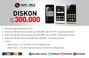 Hapeworld Discount Rp 300.000 Bank Mega