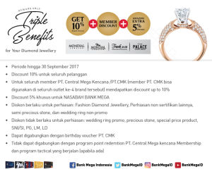 Triple Benefits Jewellery Get 10% +  Member Discount + Amazing Extra 5% Member Diskon Bank Mega
