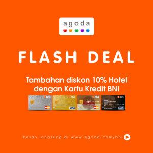 Promosi Kartu Kredit Diskon tambahan 10% di Agoda.com