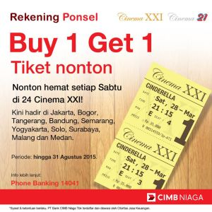 Promosi Kartu Kredit Xxi Rekening Ponsel Buy 1 Get 1 Tiket Nonton