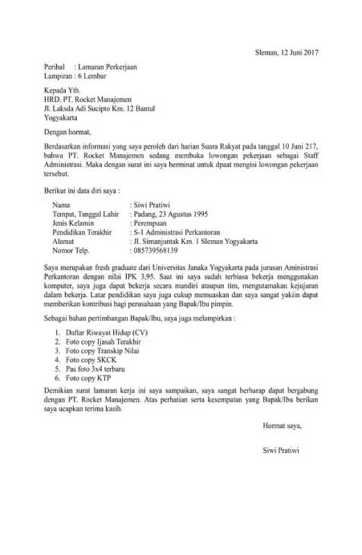 Contoh Surat Lamaran Kerja Yang Tepat Cermati Com