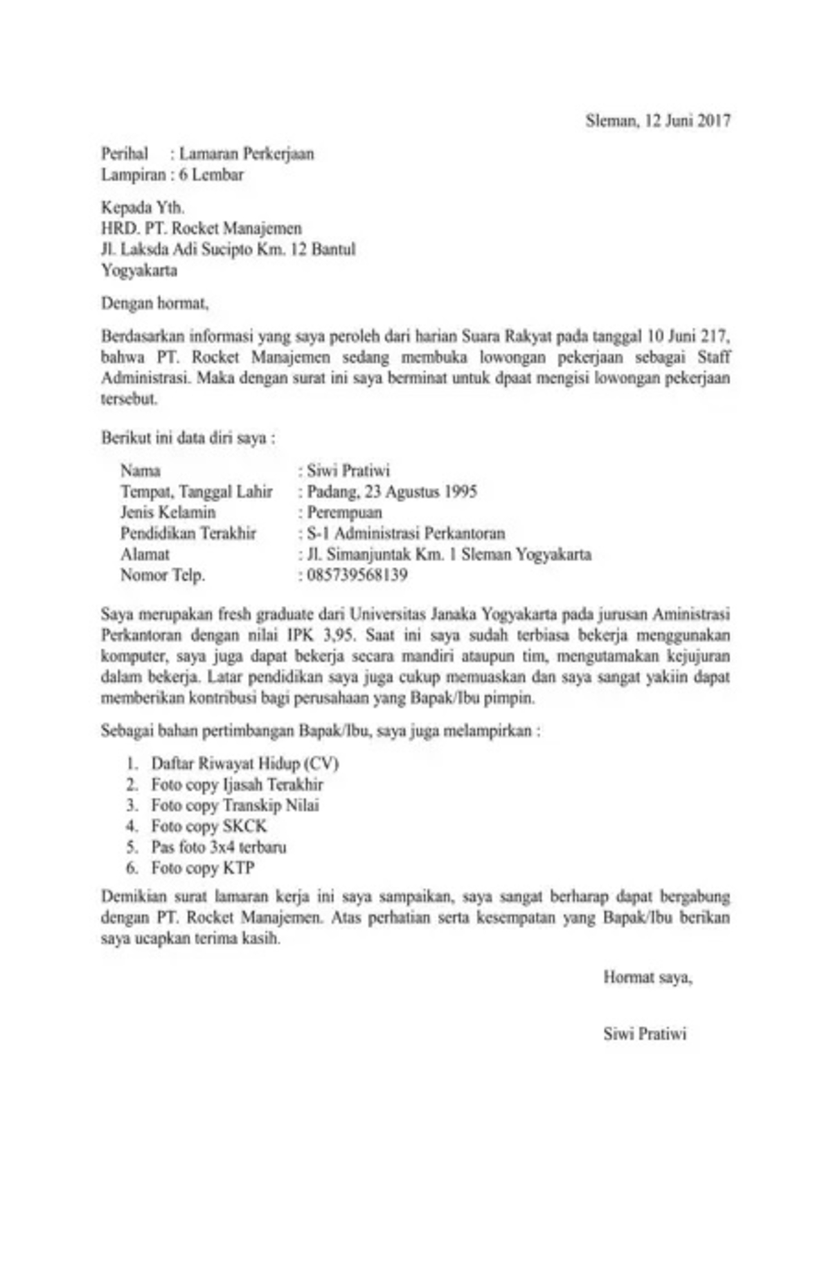 Contoh Surat Lamaran Kerja Yang Tepat Cermati