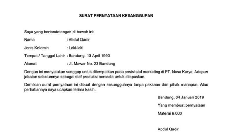 32+ Contoh surat pernyataan yang sah menurut hukum terbaru yang baik