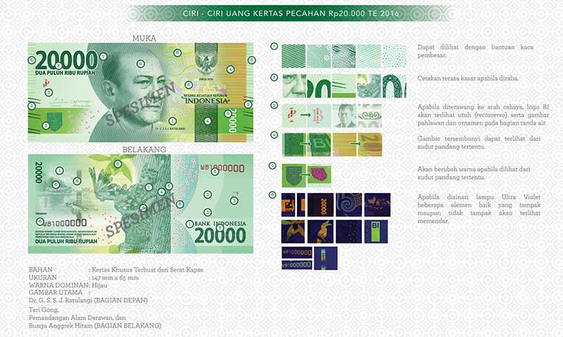 Uang Baru Rp20.000 Tahun Emisi 2016
