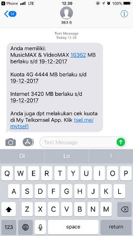 cek kuota internet telkomsel via sms