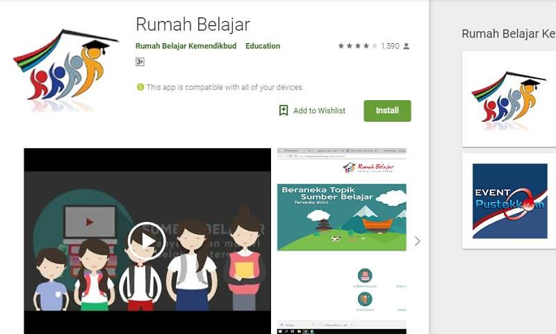 Aplikasi Rumah Belajar Kemendikbud via google playstore