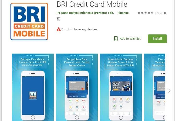 Aplikasi BRI Credit Card Mobile