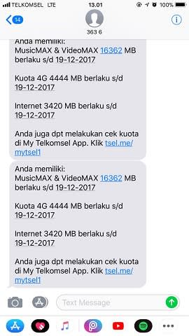 Balasan Cek Kuota Internet Telkomsel via Menu Dial