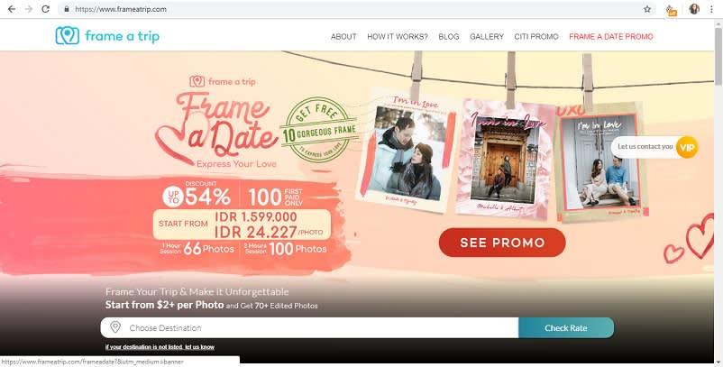 Homepage website frameatrip.com
