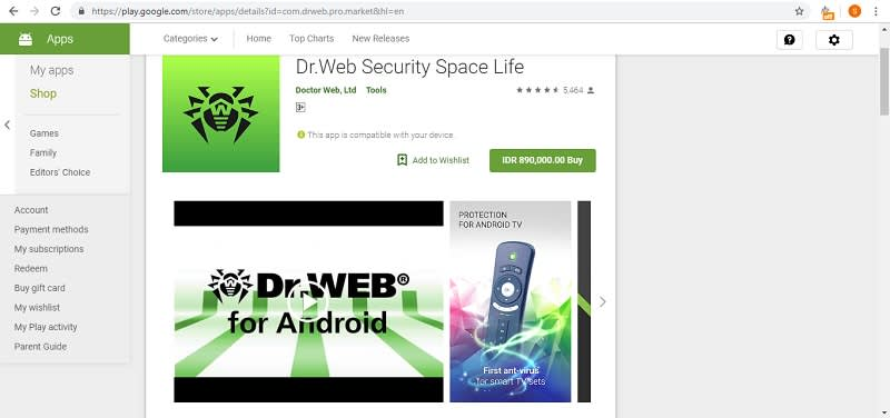 Dr. Web Security Space Life Play Store