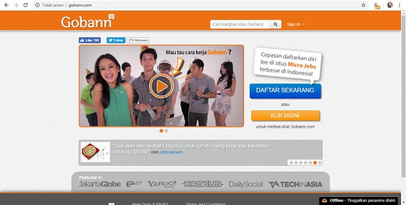 Homepage website gobann.com