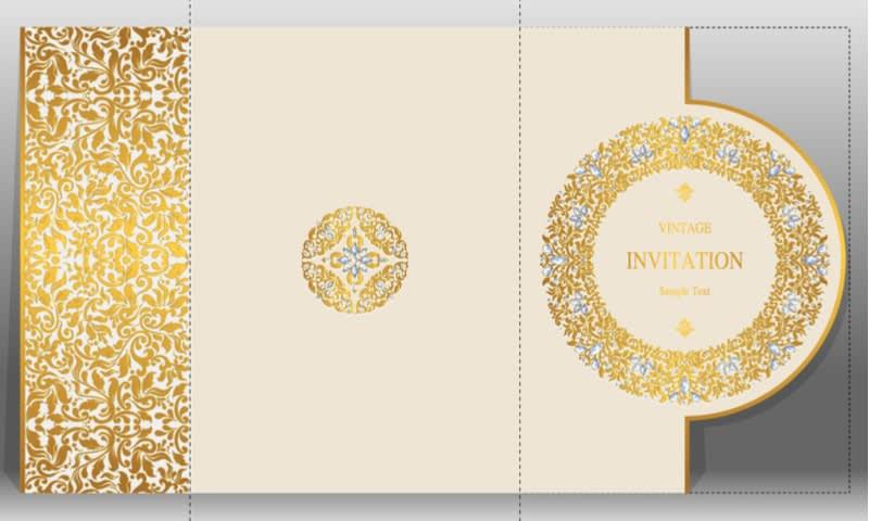 Tipe Undangan dengan Pola Broquet Berwarna Emas Berkesan Sangat Mewah