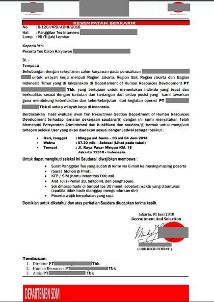 Contoh undangan wawancara kerja palsu