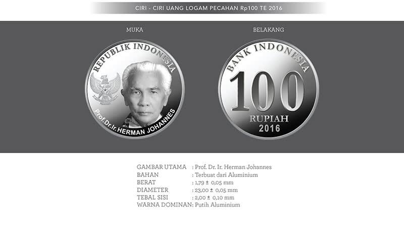 Uang Baru Rp100 Logam Tahun Emisi 2016