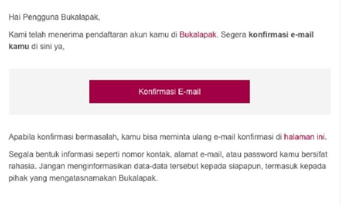 Email Konfirmasi Bukalapak